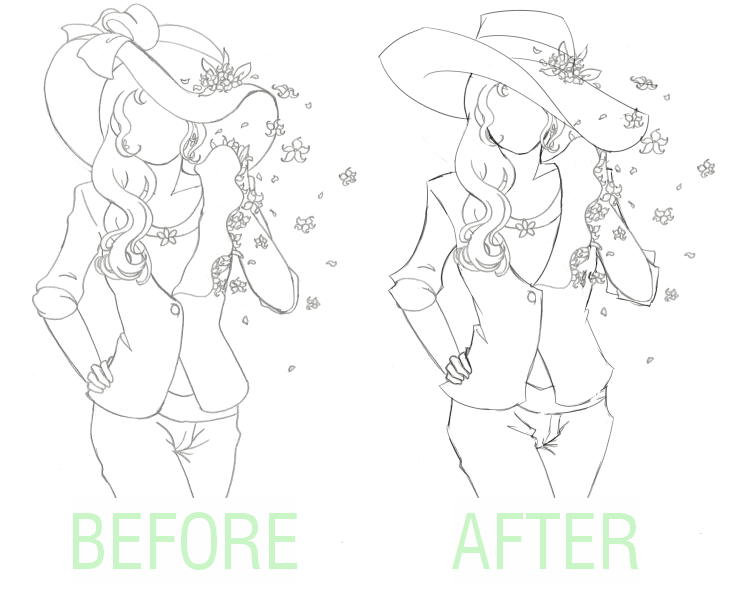 A before and after image comparison of a fashion illustration sketch. In both, a woman is wearing a hat, business shirt, and work pants.