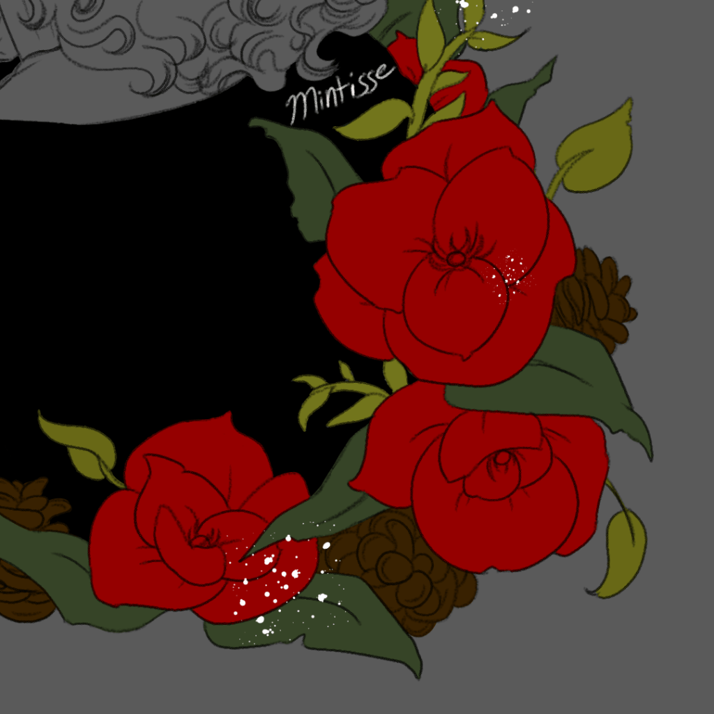 A close up of the drawn and flat colored holiday decorations against a gray backdrop