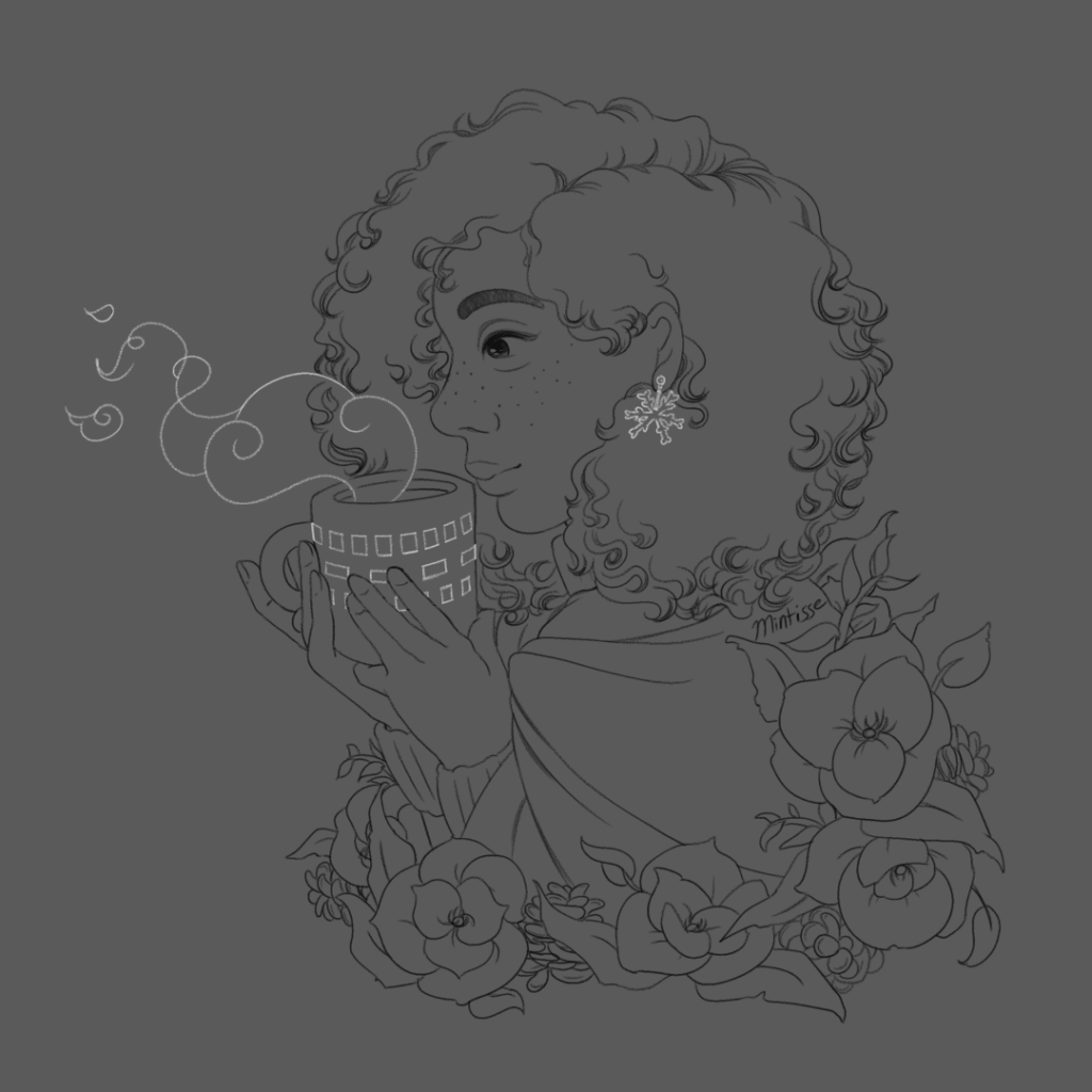 A lineart drawing of a woman drinking hot chocolate, with holiday decorations against a gray backdrop