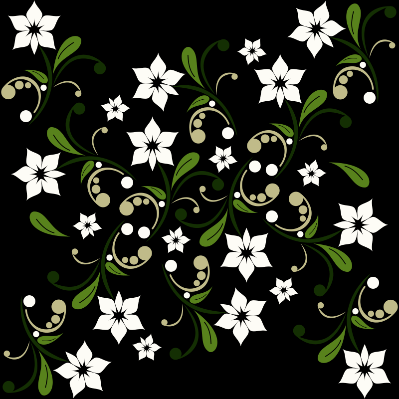 A vector pattern of some white flowers accompanied by green stems, leaves, and buds, all on a black background.