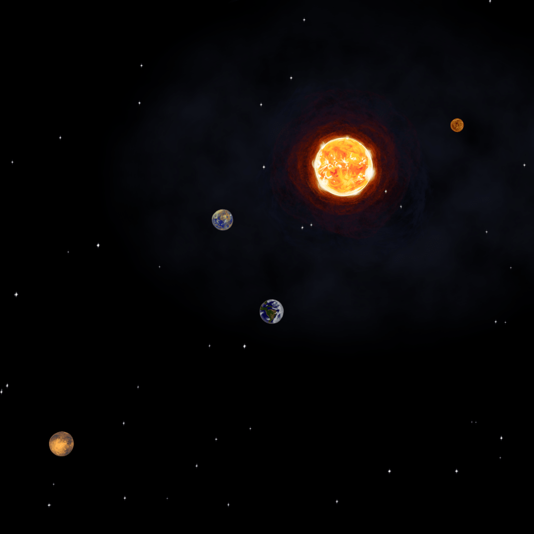 An illustration of space showing the sun, Mercury, Venus, Earth, and Mars.