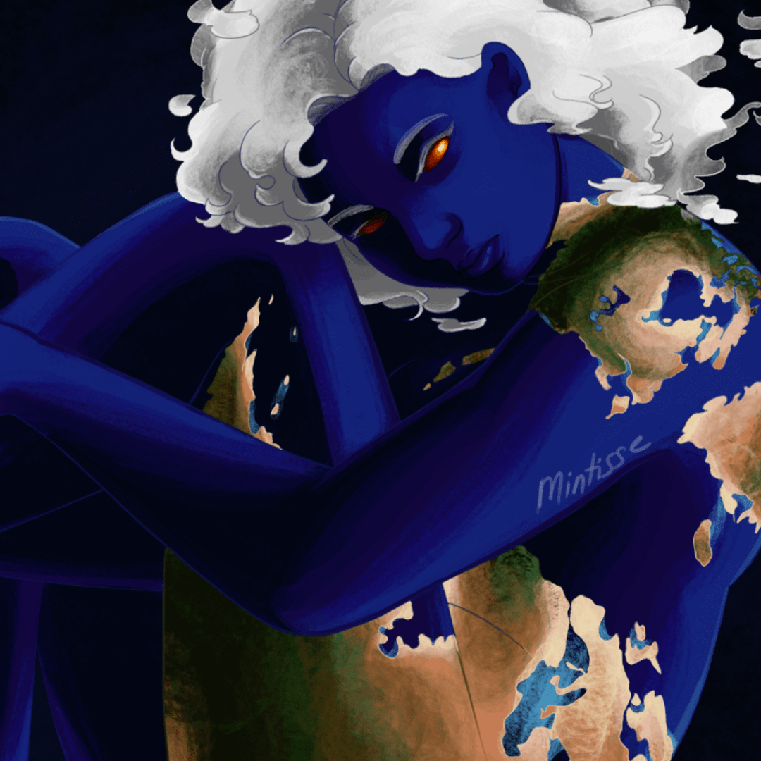 A woman colored like the planet Earth is sitting in space and staring towards the viewer with red eyes. Her cloud hair floats in a right direction and her left arm hugs her legs towards her torso.