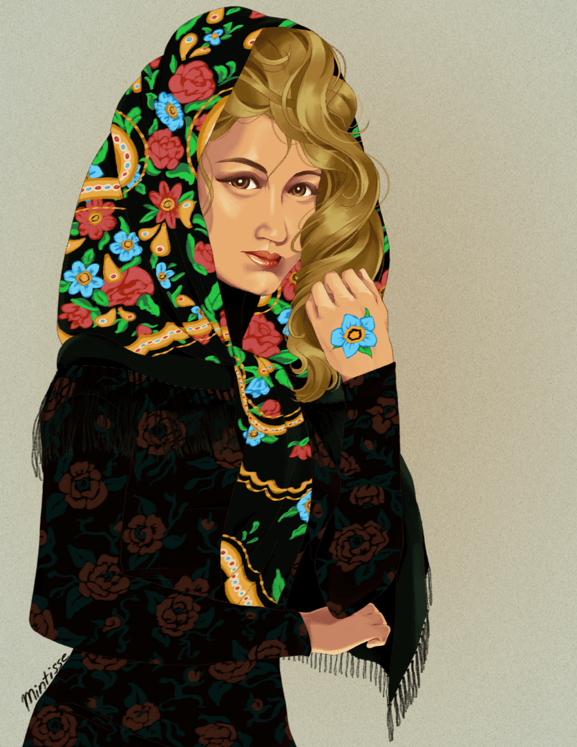 An illustration of a woman in a patterned head scarf and patterned dress. She bears a painted flower on her left hand.