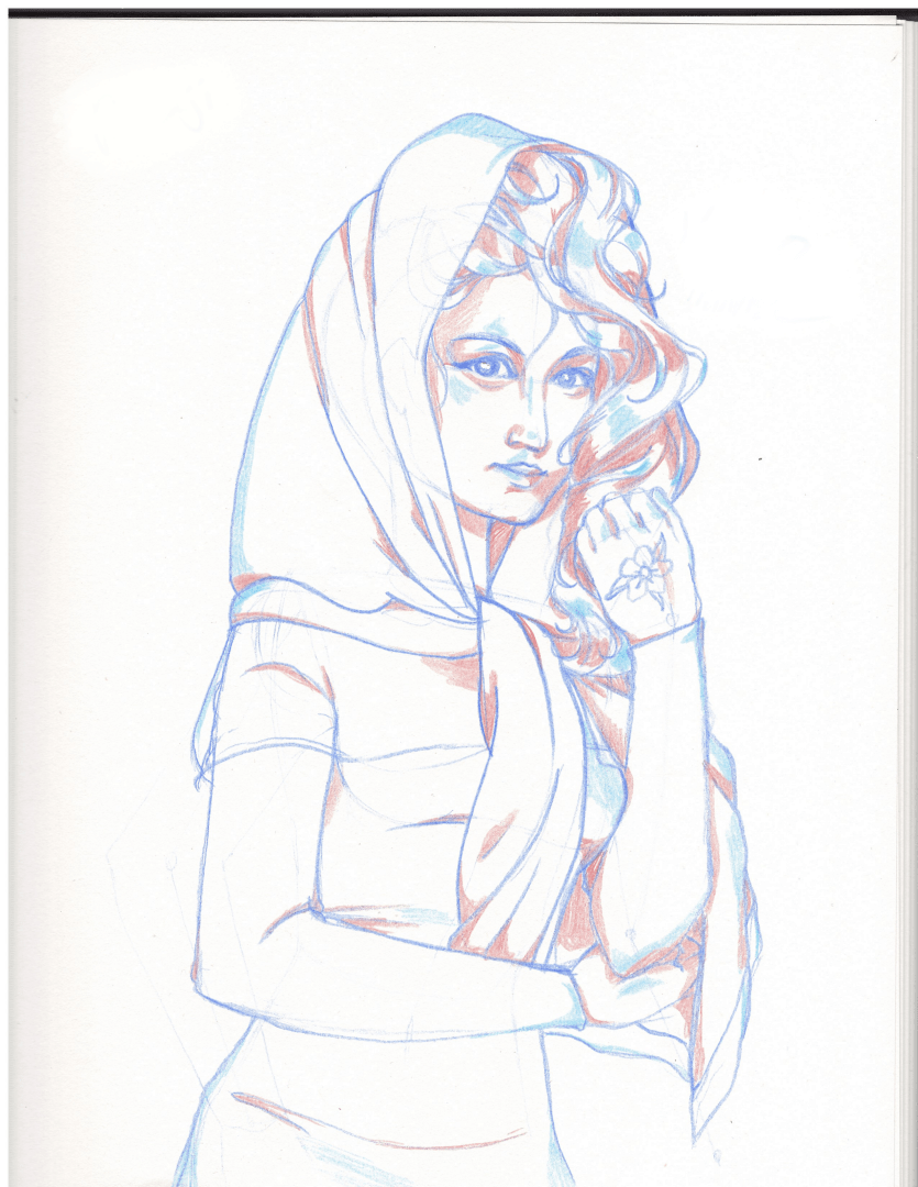 A sketch of a woman wearing a head scarf and dress, with a flower drawn on her left hand.