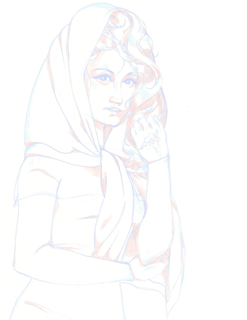A sketch of a woman wearing a head scarf and dress, with a flower drawn on her left hand. The colors are faded and the woman from before is enlarged.
