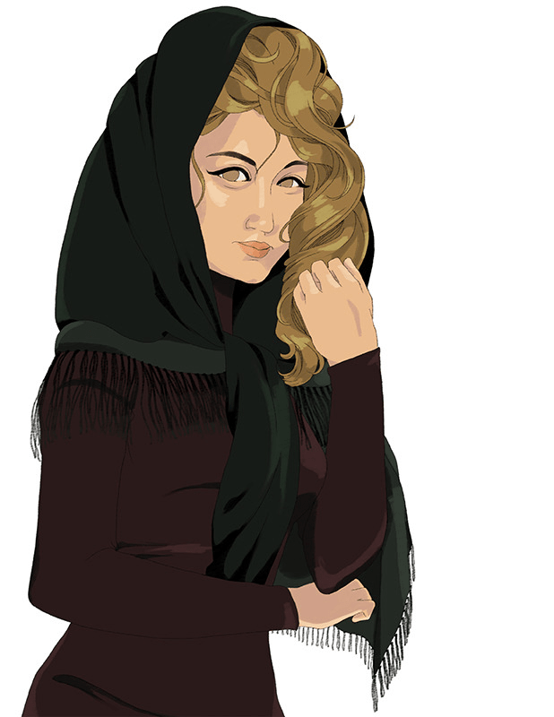 A drawing of a woman wearing a head scarf and dress. She's colored in dirty blonde hair, her scarf is black, her skin is beige, and her dress is a darkmaroon.