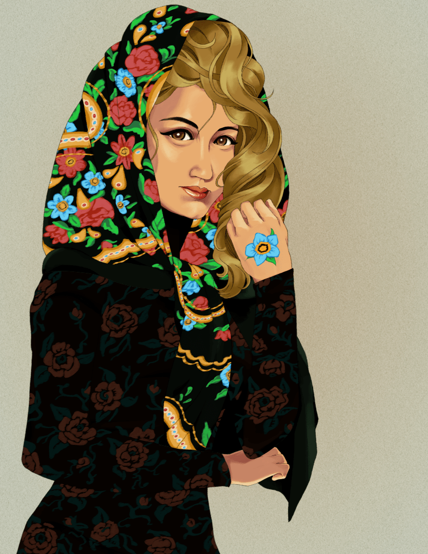 An almost complete illustration of a woman in a patterned scarf and dress designed in roses. She wears a blue flower painted on her hand.
