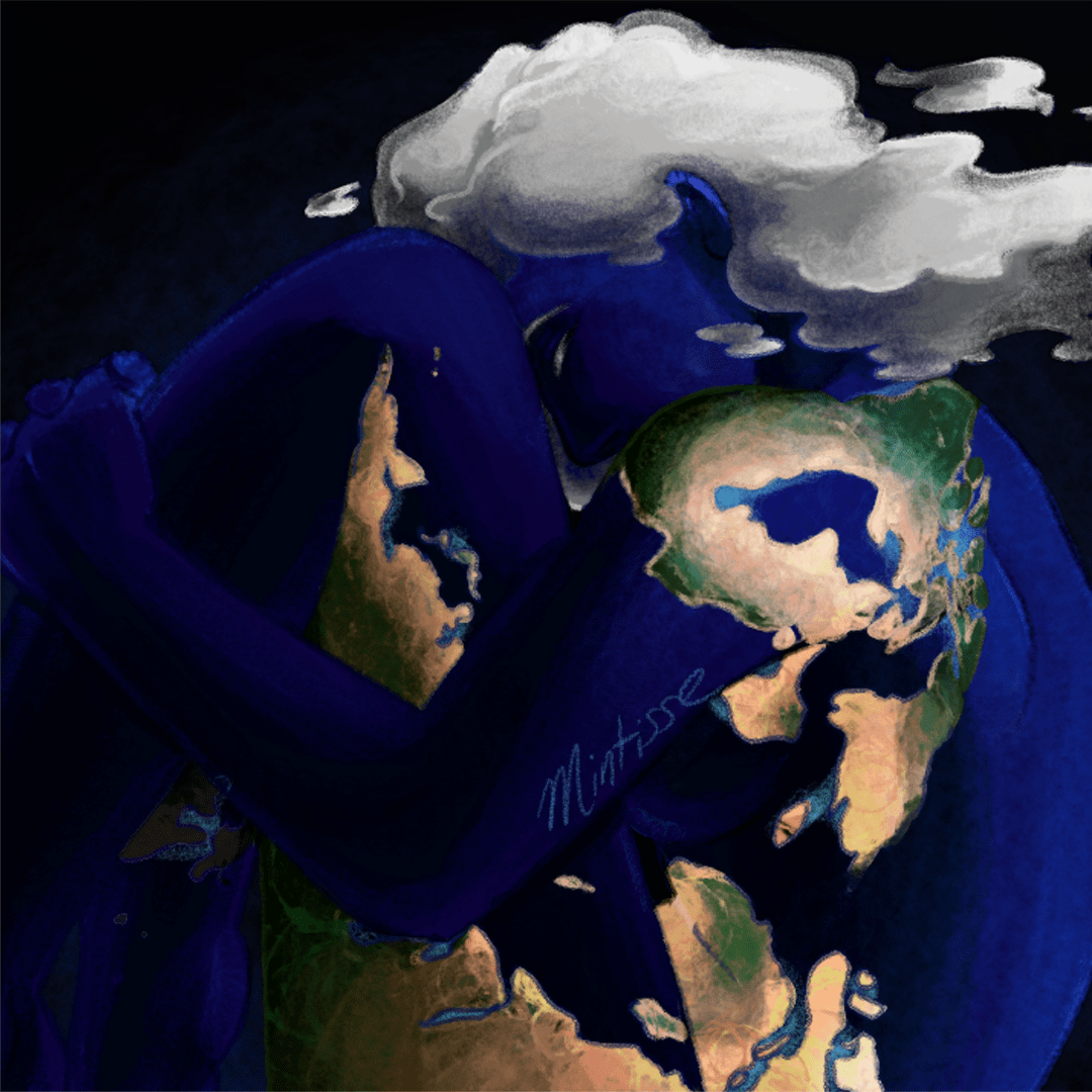 A woman in the coloration of planet Earth hugs her legs to her torso, resting her forehead on them. Her cloud hair flows in a right direction.