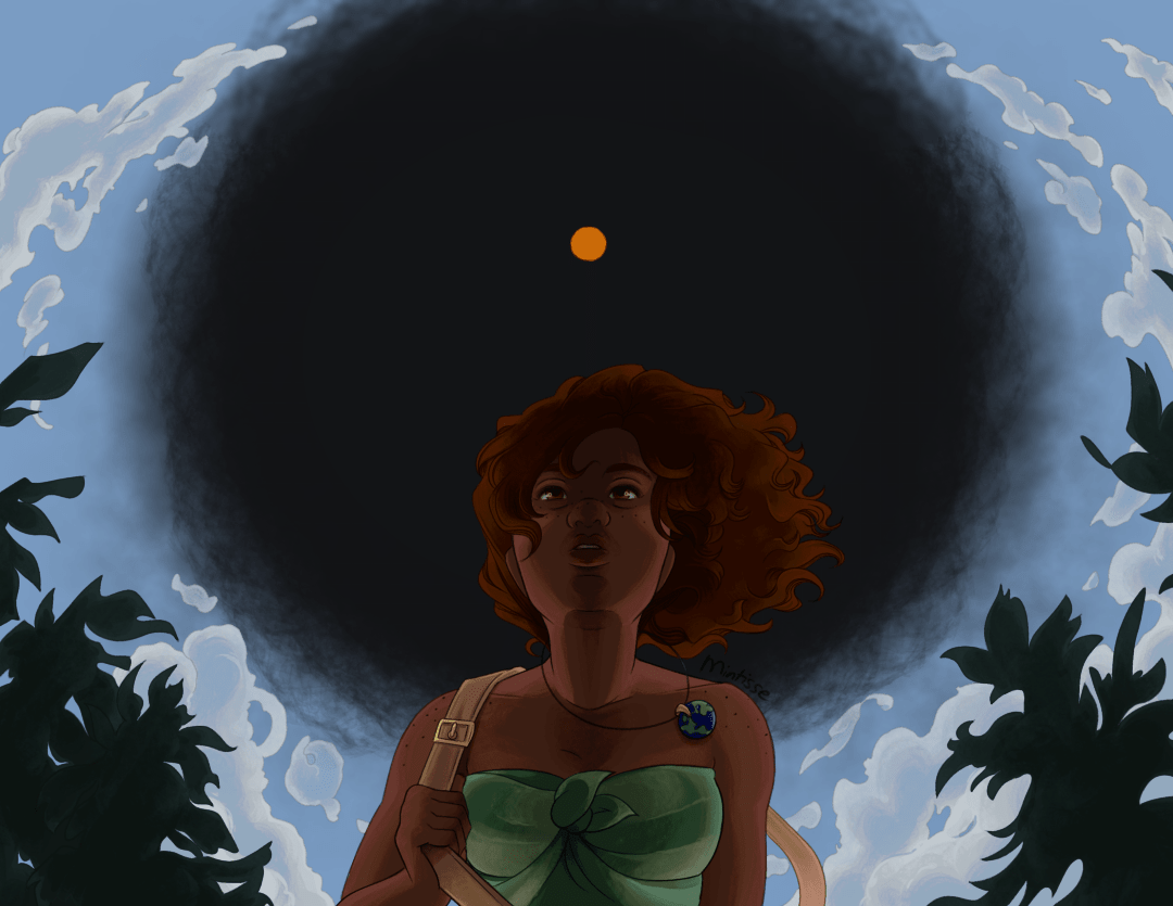 An illustration of a woman looking up at the sky. The sky is enveloped by clouds forming a circle, and a black hole is opening up and highlighting a hot orange sun.