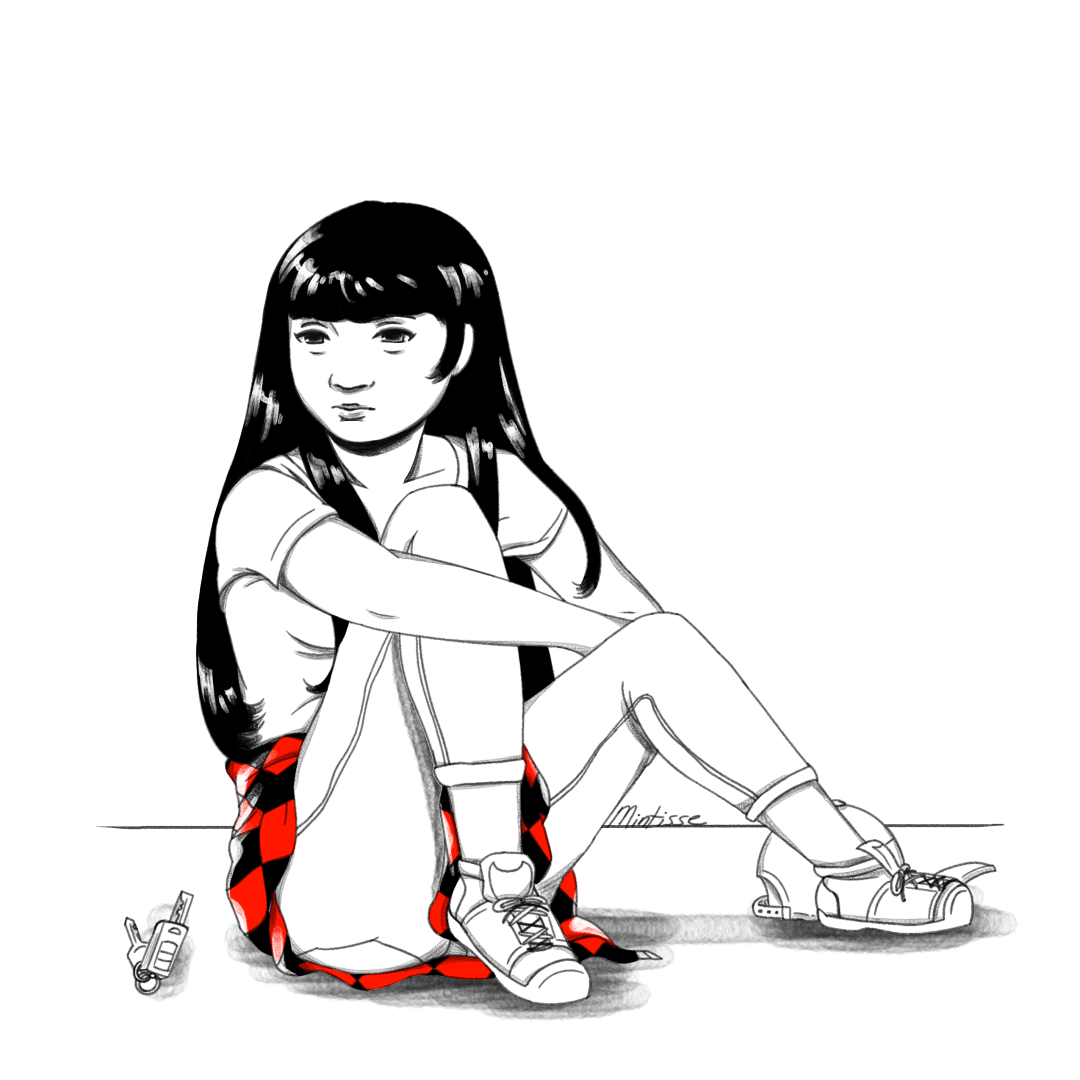 A black, white, and red drawing of a child sitting on the ground looking at car keys besides her.