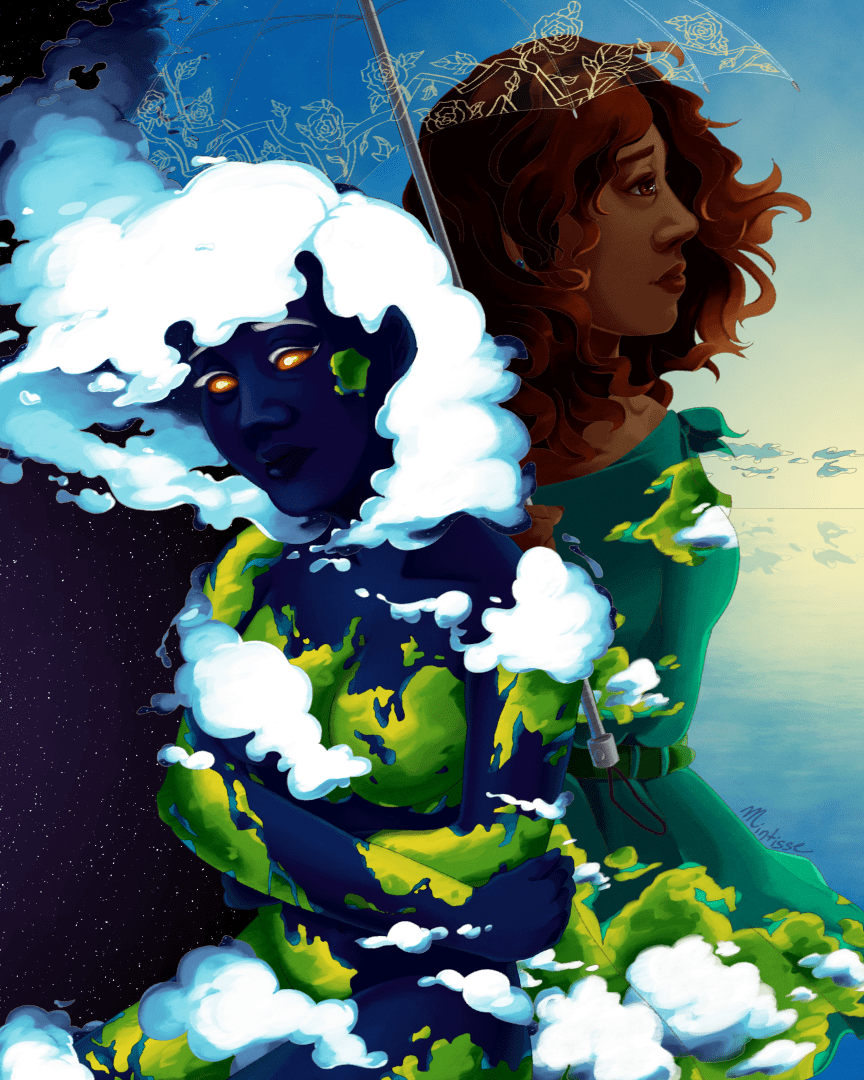 A digital painting of two women, one colored like planet Earth in space, and another black woman holding an umbrella looking out to the sea.