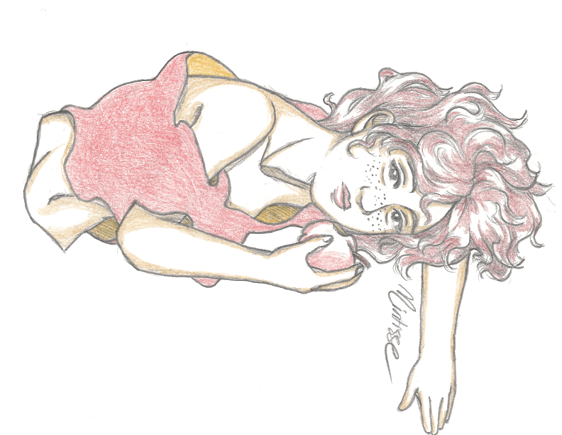 A sketchbook drawing of a woman in a loose red shirt, with an apple in her hand. She is lying on the ground staring at the viewer.