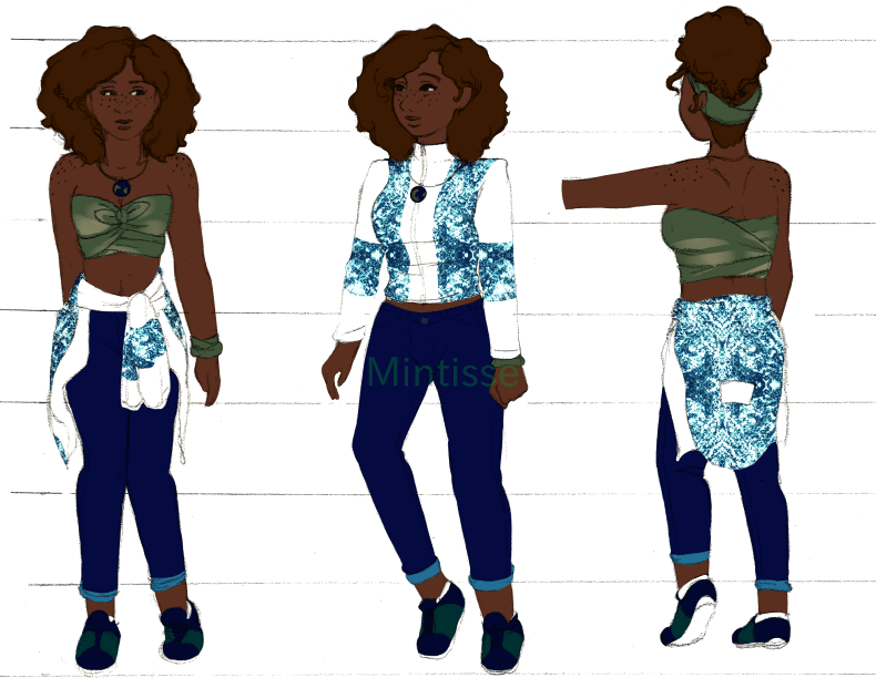A character design sheet featuring a woman at three different angles, frontal, 3/4, and back 3/4.