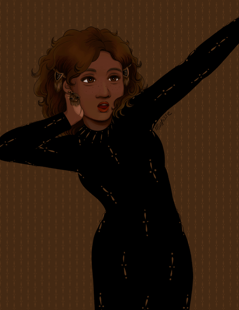 An illustration of a woman in a black dress with sparse tan beaded patterns. She's stretching her left arm and torso out.