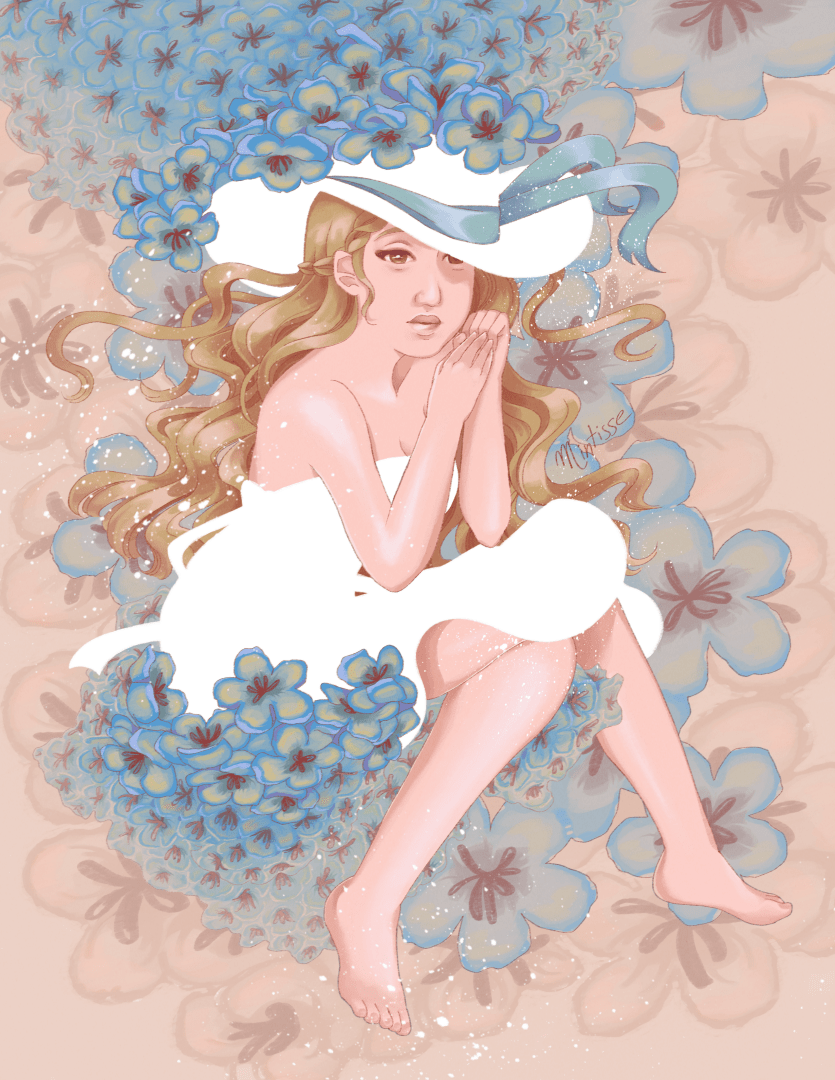 An illustration of a woman sitting on some blue flowers in a white dress and hat.