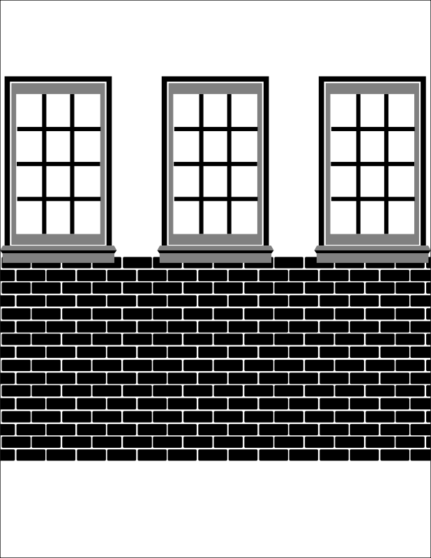 A black, grey, and white render of windows and bricks mock-up design for a background.