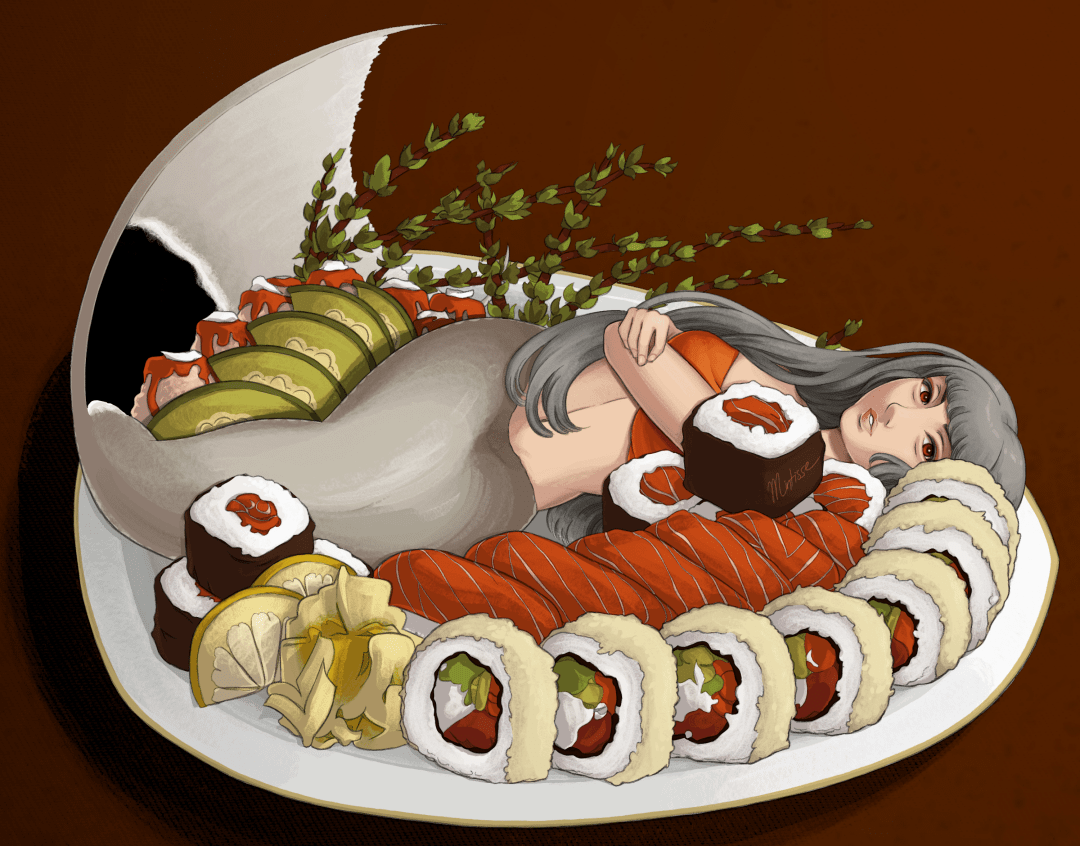 An illustration of a grey mermaid resting on a sushi plate.