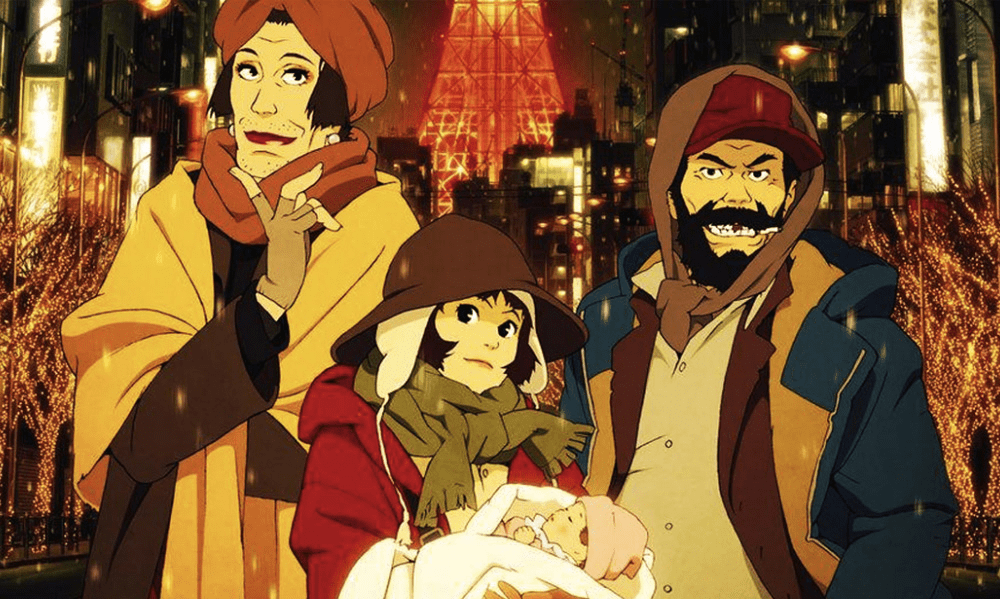 Poster shot of the movie Tokyo Godfathers.