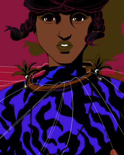 A zoom in of an illustration of a character in a blue tiger stripe dress, with a neck ring around their neck.