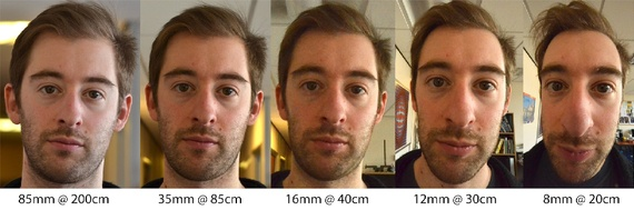 A composition of five shots of the same man taken at different camera depths. First few images make his face look flat, the ones on the right make his features recede wildly.