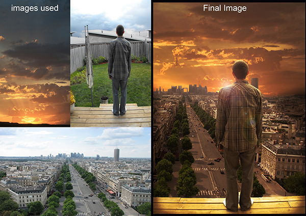 A combination of images that were photoshopped together to create one cohesive idea. An image of a sunset, a man standing on his porch, and a shot of a city, were combined to make an image of a man looking out into a city sunset landscape.