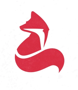 A logo design by Mike Bruner of a red-orange fox, done in a minimalist style.