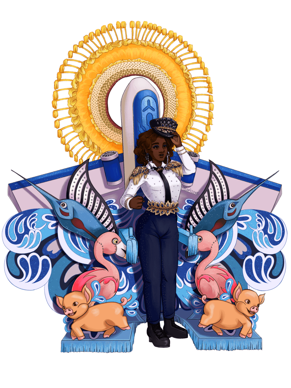 An illustration of a woman in a bedazzled pilot costume, with some props of swordfish, flamingos, pigs, a plane, and a sun piece behind her.