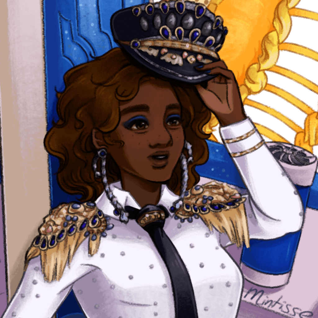 A zoom in of the first illustration of a woman in a bedazzled pilot costume, with some props of a plane and sun piece behind her. The character has her hat in her left hand, slightly tipping it off her head at the audience.