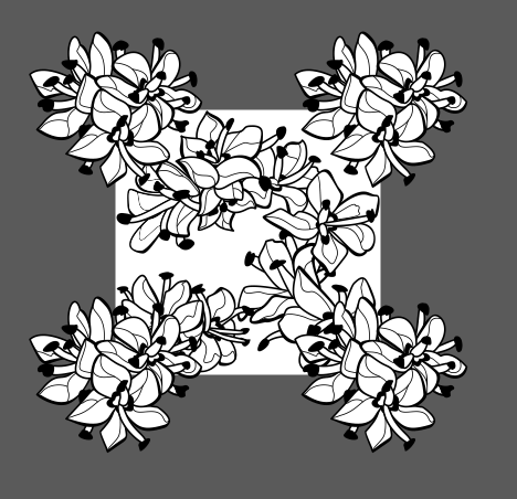 All flower bunches A-E now placed onto a canvas to make a black and white pattern.