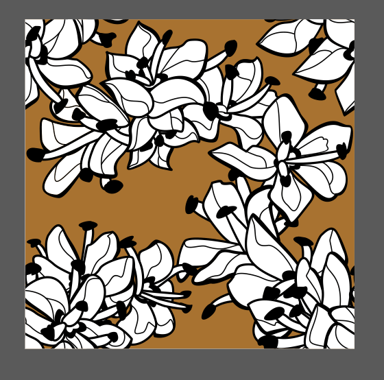 A black and white floral pattern with a tan background color.