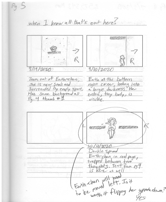 A scan of a page of 3 storyboards showcasing 3 different versions of a character sitting in space.