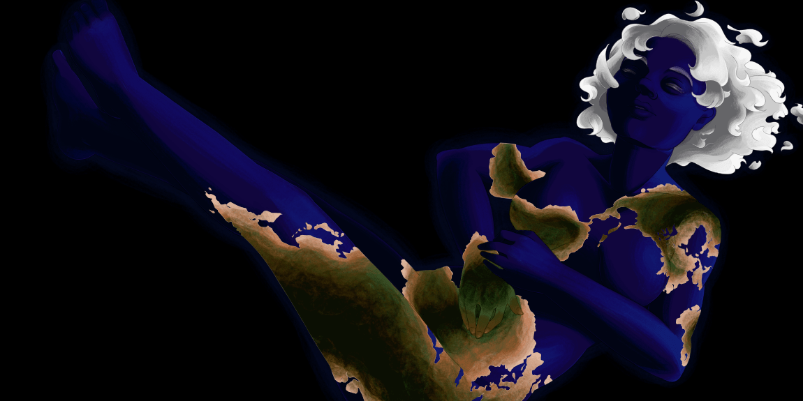 An illustration of a woman colored like the Earth, lying on her back and daydreaming as she floats through space.