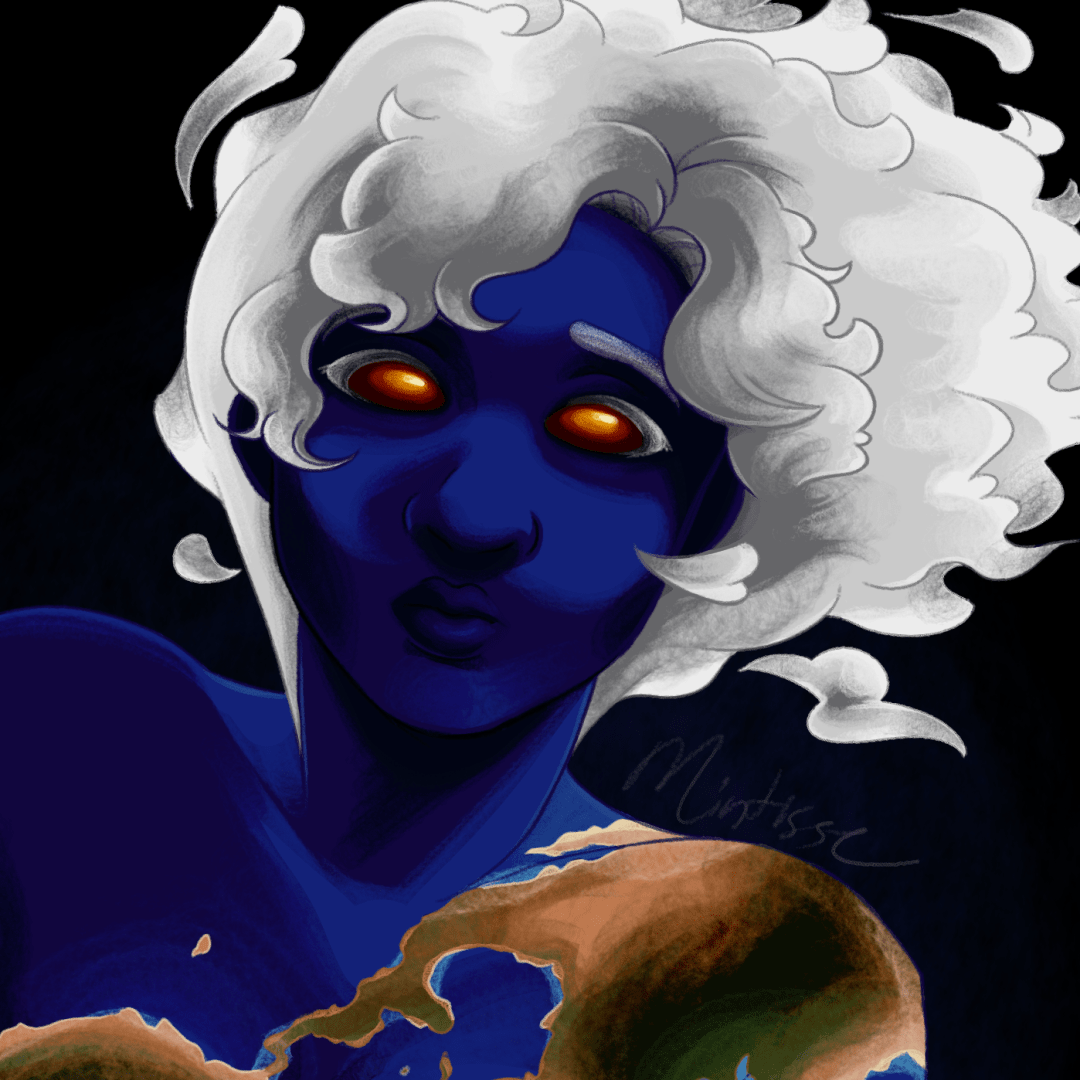 A close up of an illustration of a woman colored like the Earth looking at the camera.