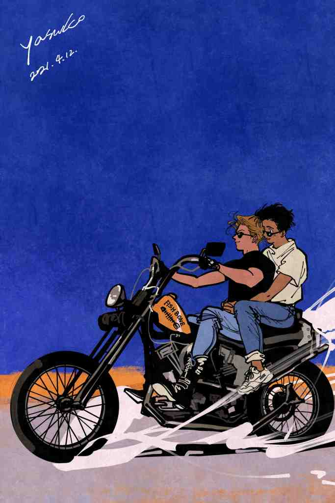 An illustration of two men riding on a motorcycle