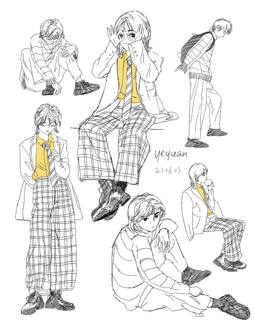 A black, white, and yellow illustration of various characters posing in different fashion. Illustration by Yeyuannnnn.