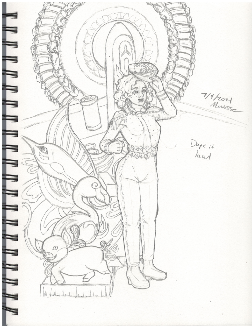"""A black and white sketch of the above illustration of a woman in a bedazzled pilot costume, with some props of swordfish, flamingos, pigs, a plane, and a sun piece behind her. One side of the plane and props are missing, and is instead replaced by writing that says """"Dupe it lawl."""""""