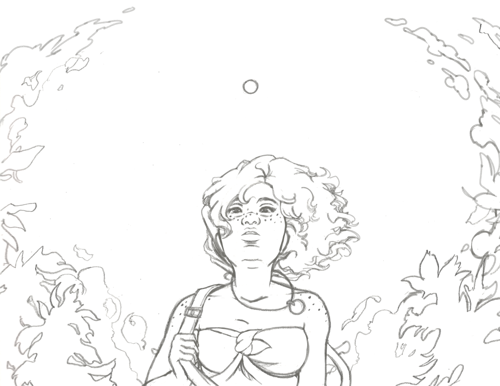 A dark grey and white sketch of a woman looking up at the sky. Her hair is blowing harshly to the right, and circular shaped clouds and trees frame her as the center of attention. A sun sits in the top center of the paper.